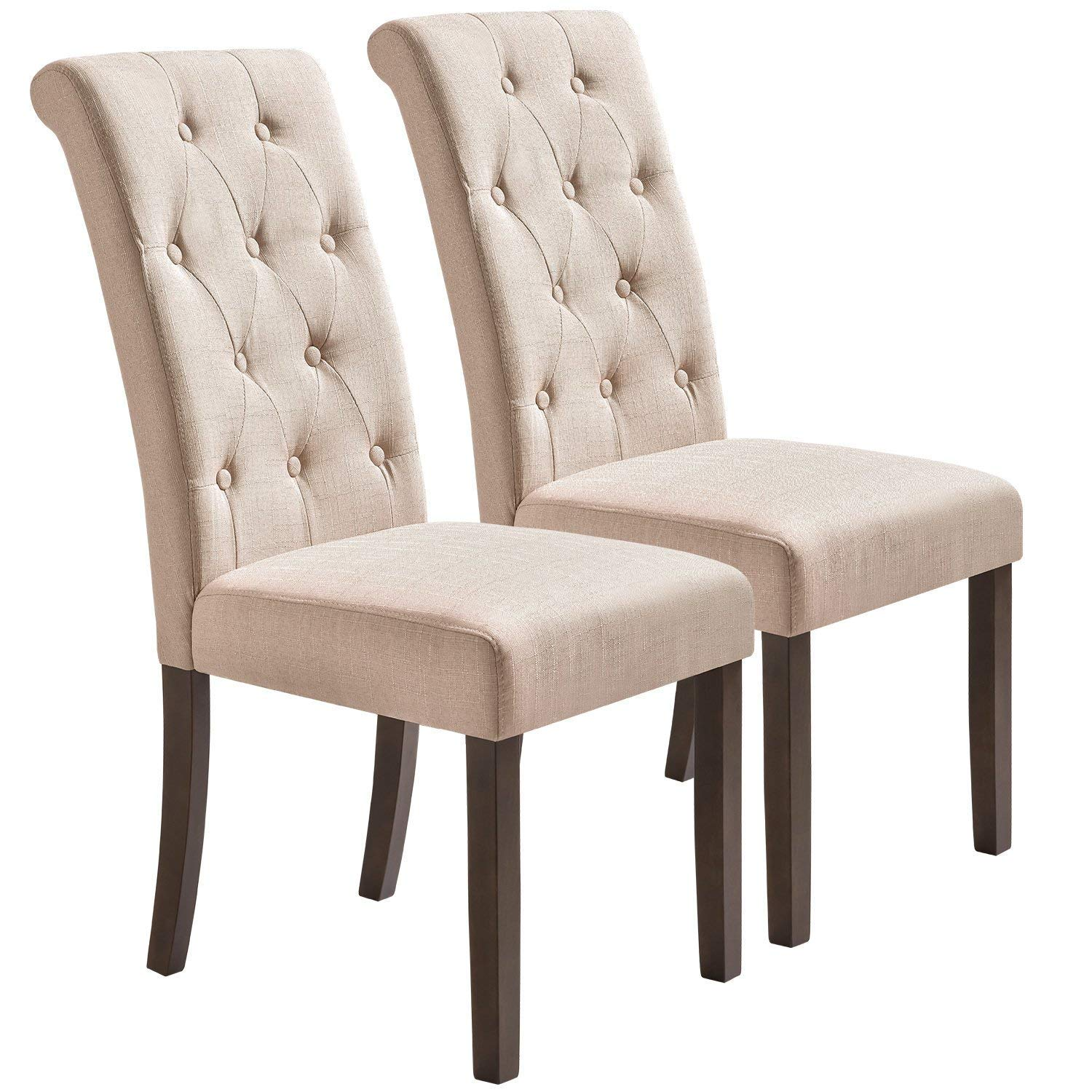 Merax Dining Chairs Set of 2 Stylish Tufted Upholstered Fabric Chair, Armless Accent Dining Room Chairs with Solid Wood Legs (Beige)