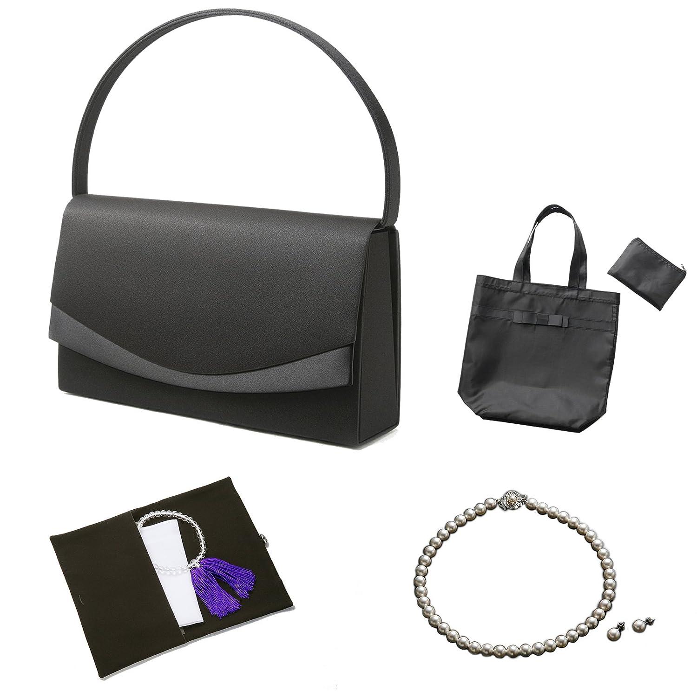 (マーガレット)フォーマル7点セット バッグネックレスピアスまたはイヤリングふくさハンカチ数珠折畳トート B072DTGJQH ネックレス42cm|ピアス ピアス ネックレス42cm