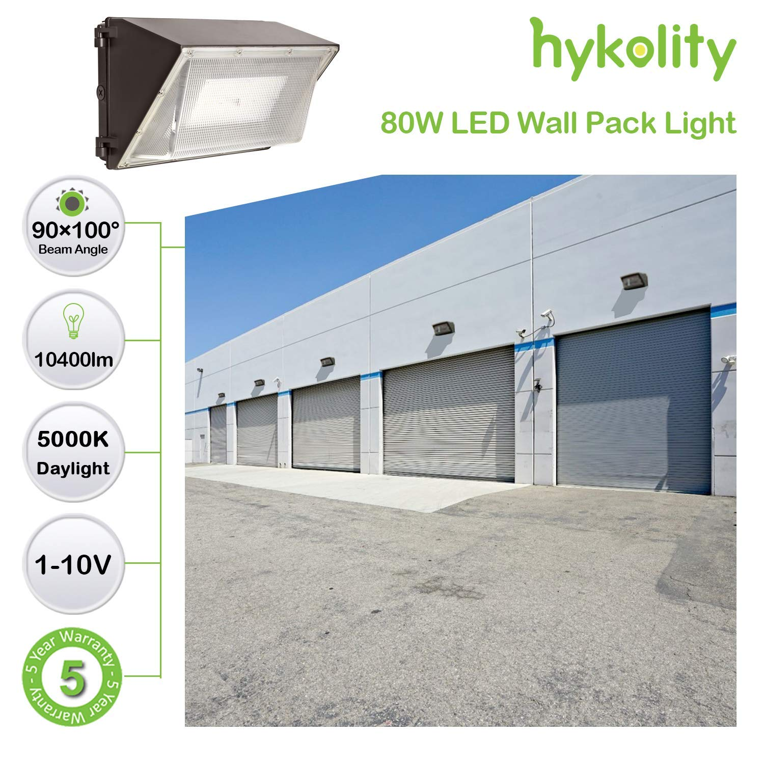 Dusk to Dawn Outdoor Commercial LED Area Light,1-10V Dimmable,5000K Daylight DLC Complied Hykolity 120W 15600lm High-Output LED Wall Pack with Photocell,Brighter Than 400W MH