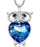 Amazon Price History for:The Blue Love Heart of the Sea Cute Owl Necklace 925 Sterling Silver Swarovski Elements Crystal Necklace