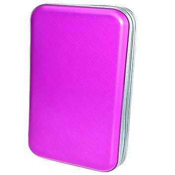 Faylapa Estuche para CD 80 DVD Bolsas Almacenamiento Funda Protectora de Organizador Cartera Case para disco duro portátil (Púrpura)