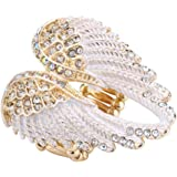 Szxc Jewelry Women's Crystal Angel Wings Stretch Rings Biker Jewelry