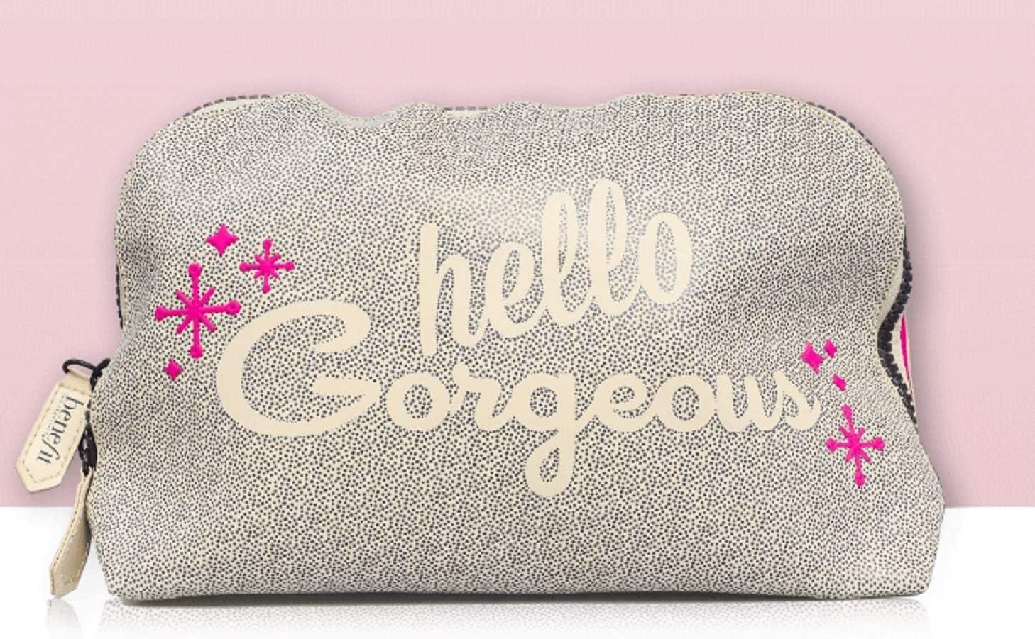 Benefit Cosmetics Hello Gorgeous - Neceser para maquillaje, color marfil y rosa: Amazon.es: Belleza