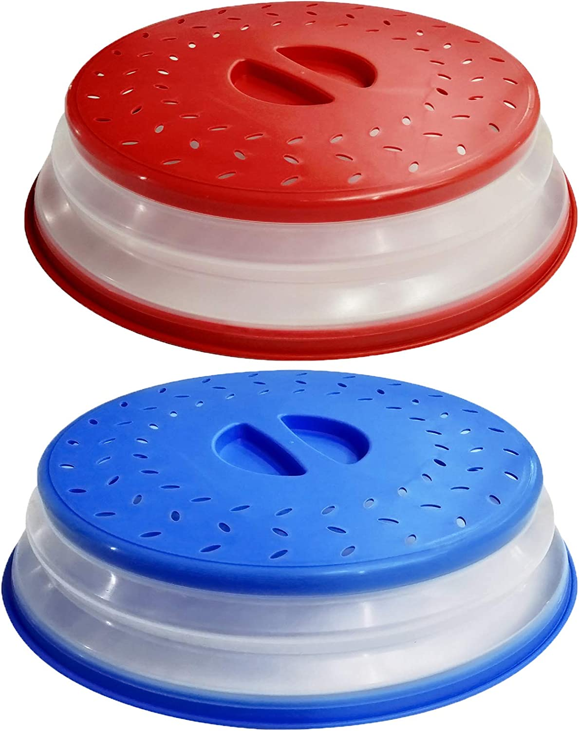 2Pcs OUZIFISH Upgraded Microwave Splatter Cover for Food, Vented Collapsible Food Plates Cover Can be Hung, Easy to Shake Hands, Drainer Basket, BPA-Free Silicone & Plastic