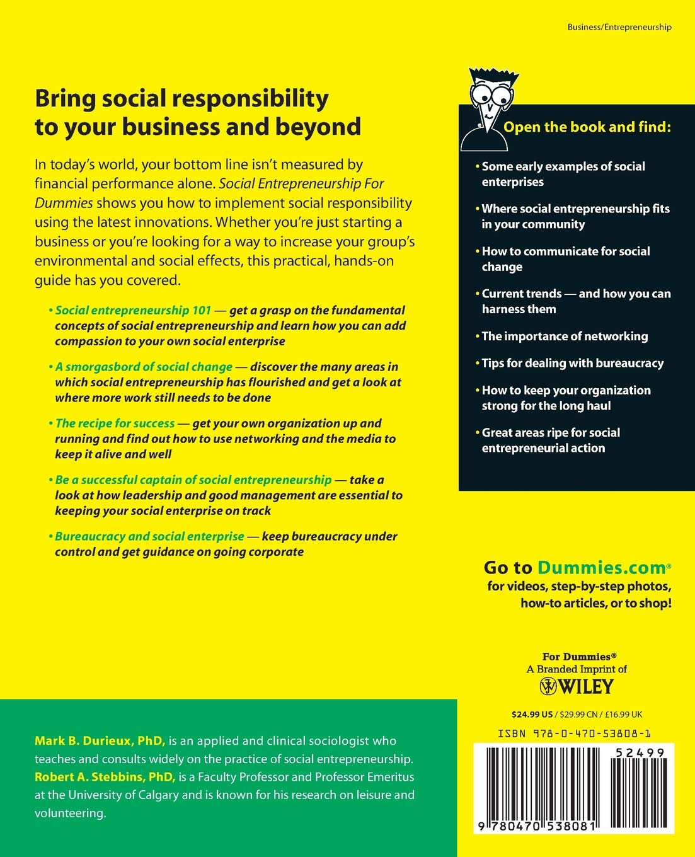 Social Entrepreneurship For Dummies: Amazon co uk: Mark B