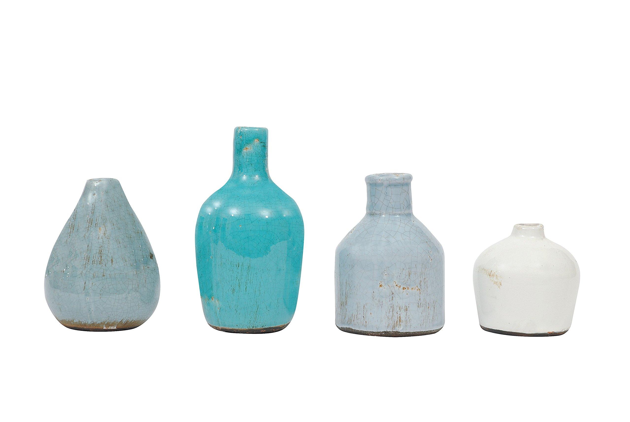 Creative Co-Op DA1092 Set of 4 Blue & Ivory Terracotta Vases