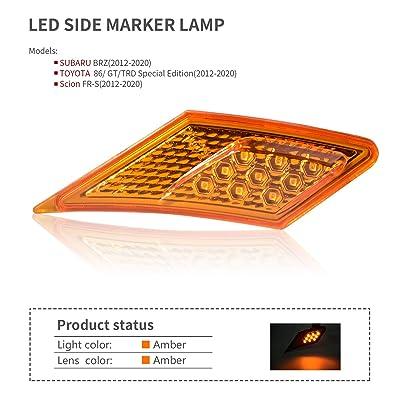 MFC PRO OEM SMD Led Technology ECE Side Marker Lamp For 2012-2020 TOYOTA 86 / GT86 / SUBARU BRZ/Scion FR-S (Amber Lens with Amber Light): Automotive