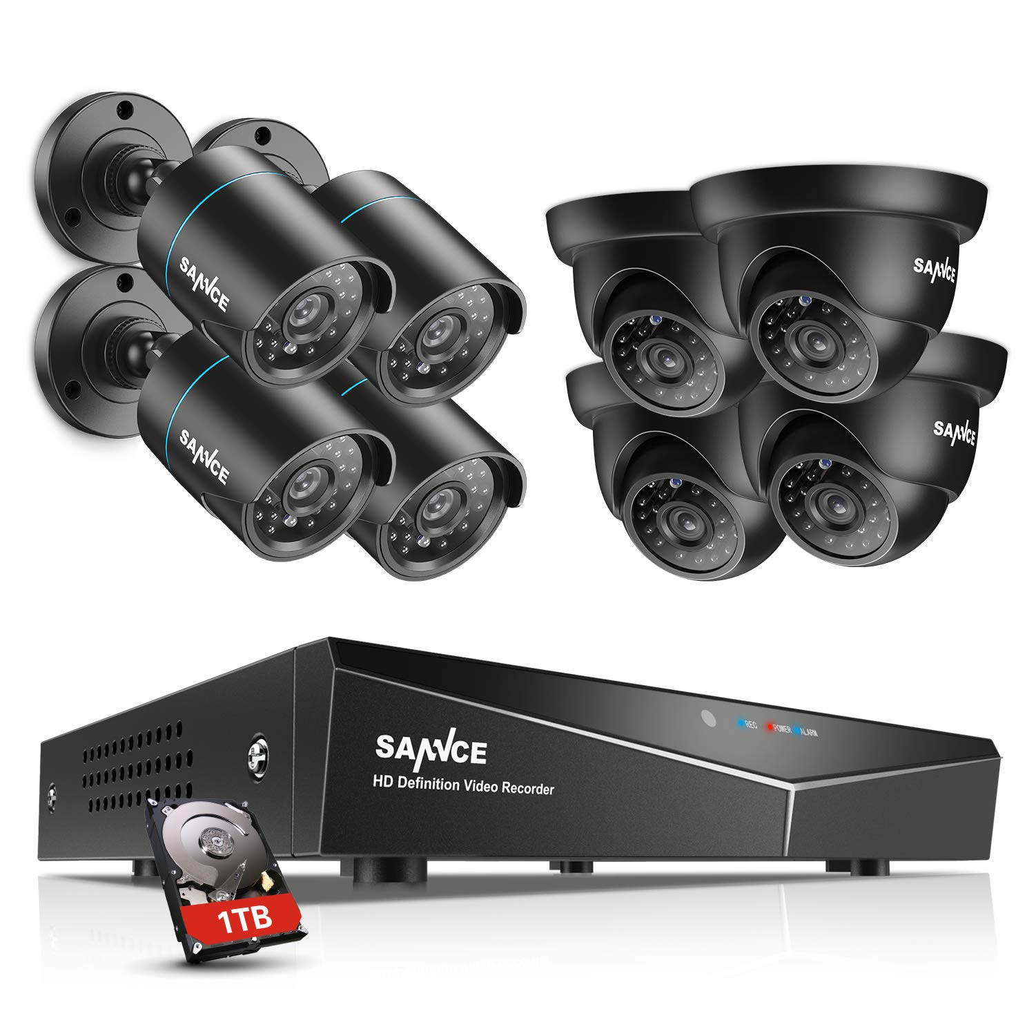 SANNCE 8CH 720P 5-in-1 DVR Video Surveillance System with 1TB HDD Pre-Installed and (8) Outdoor IP66 Weatherproof Cameras with IR Night Vision, Email Alarm, Remote Access by SANNCE