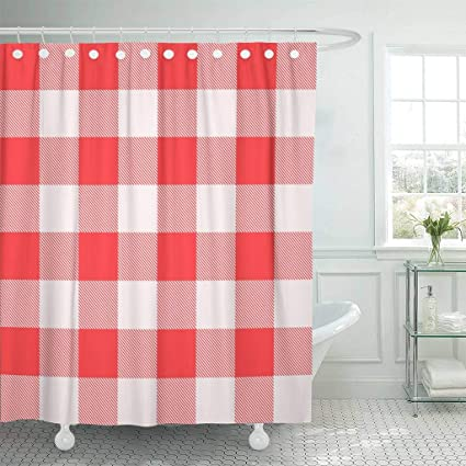 Emvency Fabric Shower Curtain With Hooks Red Checkered Picnic Pattern Plaid White Abstract Breakfast Canvas Check