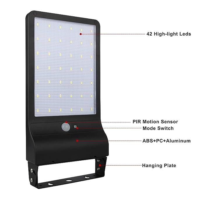 20 W LED Solar Farola, lámparas de pared con detector de movimiento para exteriores, Noche seguridad iluminación para Granero Veranda Garage Patio: ...
