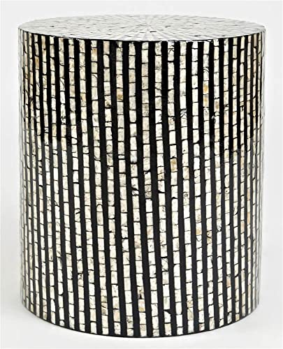 Jofran Global Archive Round Capiz Accent Table Black Multi