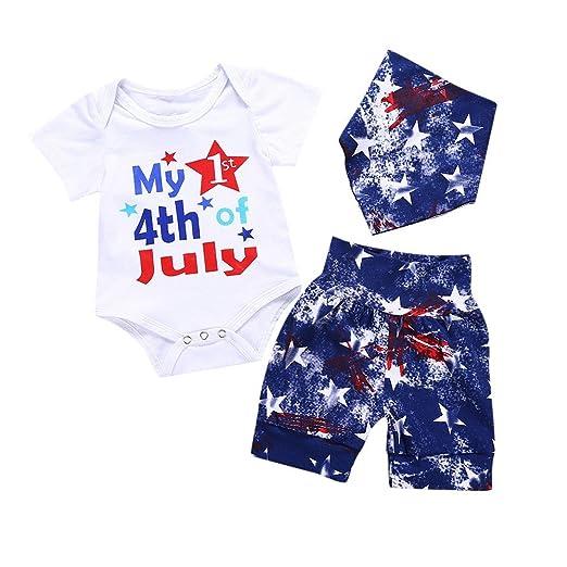 b29f6e06c Amazon.com  Fineser 3PCs Newborn Infant Baby Girls 4th of July ...