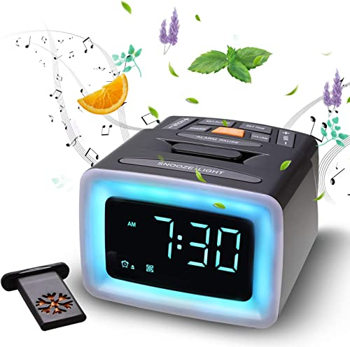 OnLyee Essential Oil Diffusing Scent Alarm Clock with LED Night Light 4 Scents, 7 Alarm Sounds Adjustable Volume and Brightness, Battery Backup, Snooze Easy Setup for Children and Elderly