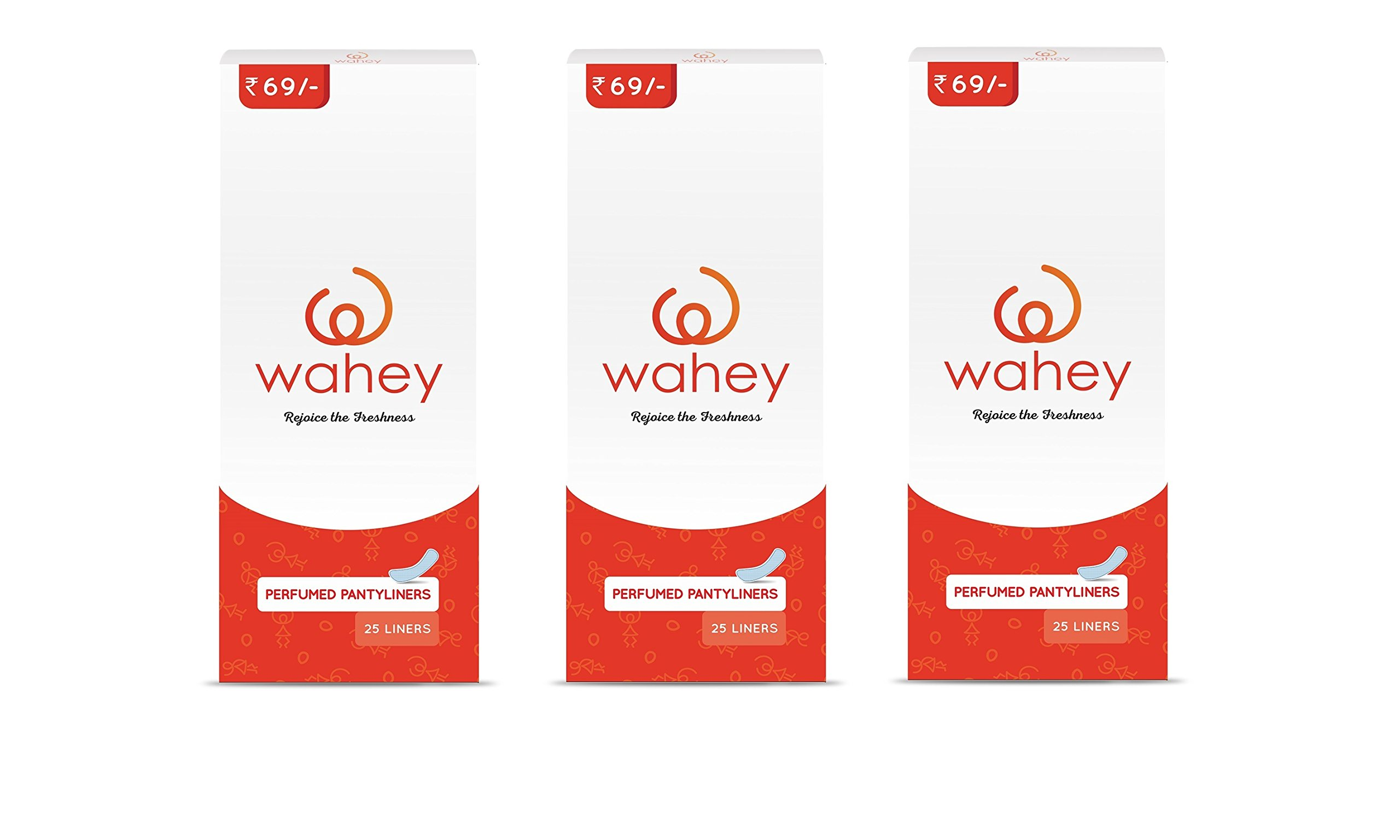 Wahey Perfumed Panty Liners/Pantyliners With Cottony Covering, Pack Of 3 (75 pcs) product image