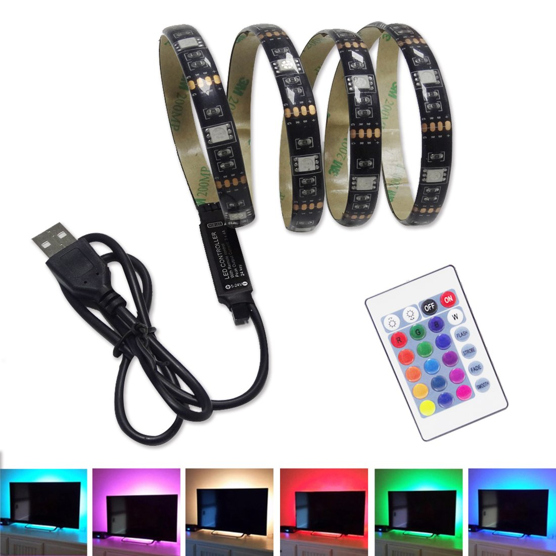 SINGSICO LED Strips Bias Backlight Kit With Dimmable Remote Control-Multi Color USB Strip Lights 6.56ft(2M) for 40-60inch Flat HDTV,Desktop PC