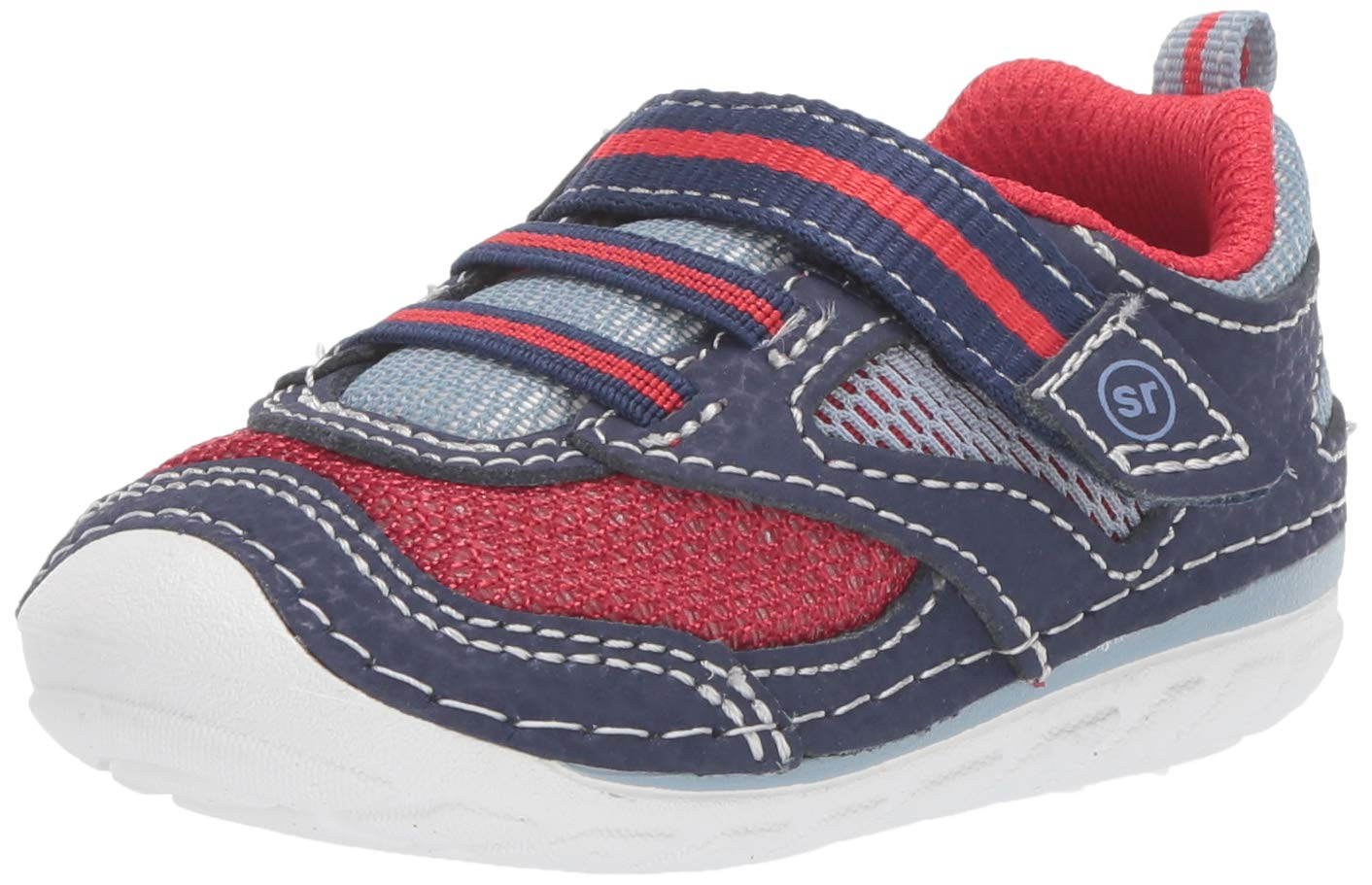 Stride Rite Boys' SM Adrian Sneaker, Navy/red, 6 W US Toddler