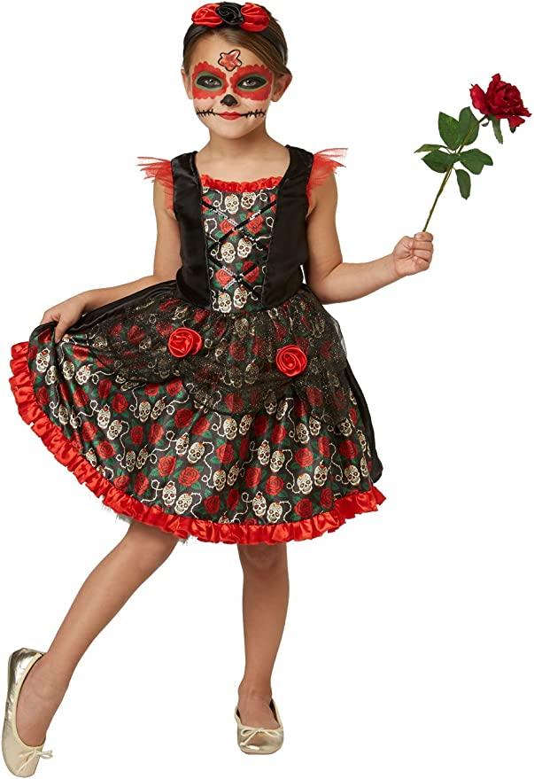 Rubies S 2630709 M Red Rose Day of The Dead, Disfraz para niños ...