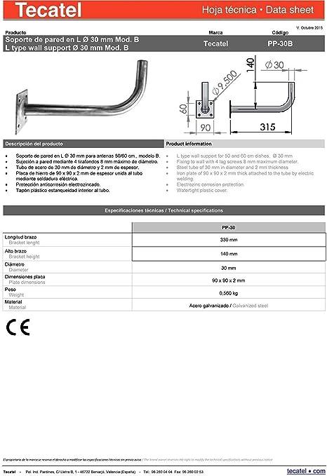Tecatel - Kit parabólica 60 cm, soporte, LNB Universal, cable ...