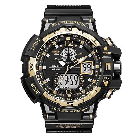 Hombre Militar Reloj Deportivo Analógico Digital impermeable al aire libre electrónico retroiluminación LED Alarma Cronómetro: Amazon.es: Relojes