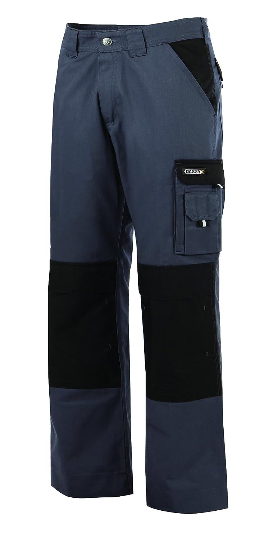 poches genoux Dassy Boston 245g Pantalon de Travail bicolore Noir//Gris