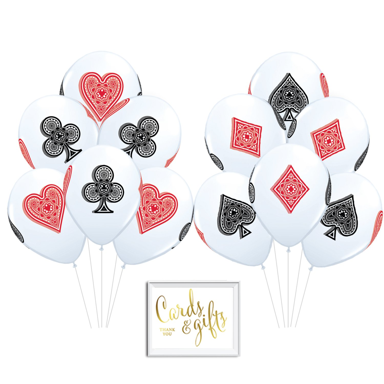 Andaz Press Bulk High Quality Latex Balloon Party Kit with Gold Cards & Gifts Sign, Casino Bingo Cards Suite Hearts Club Diamond Spade Printed 11-inch Balloons, Wholesale 50-Pack by Andaz Press