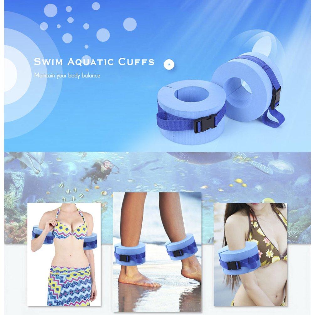 Blue RUNACC Foam Aquatic Cuffs Hydrotherapy Ankle Cuff Swim Weights with Quick Release Buckle Set of 2