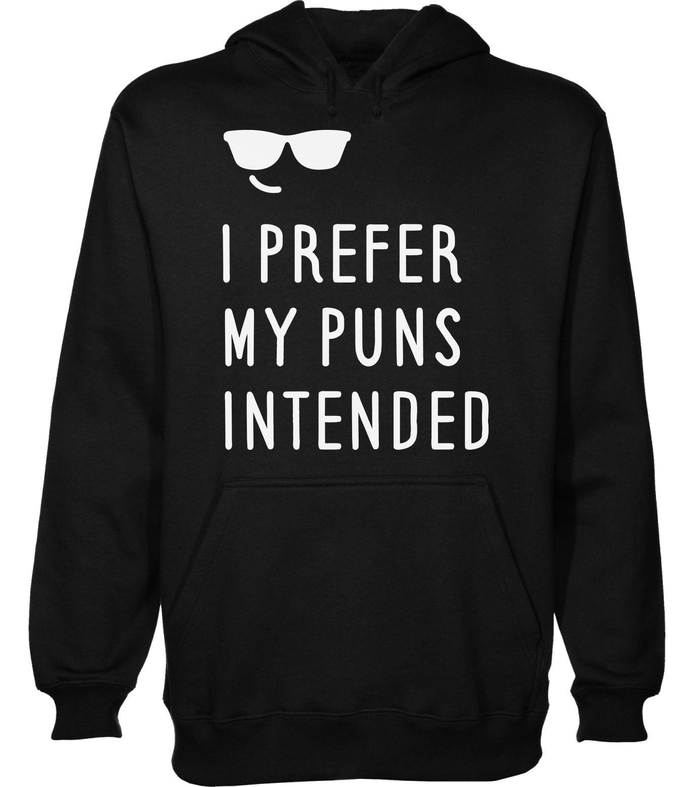 idcommerce I Prefer My Puns Intended Cool Smile with Sunglasses Men's Hoodie Pullover XX-Large
