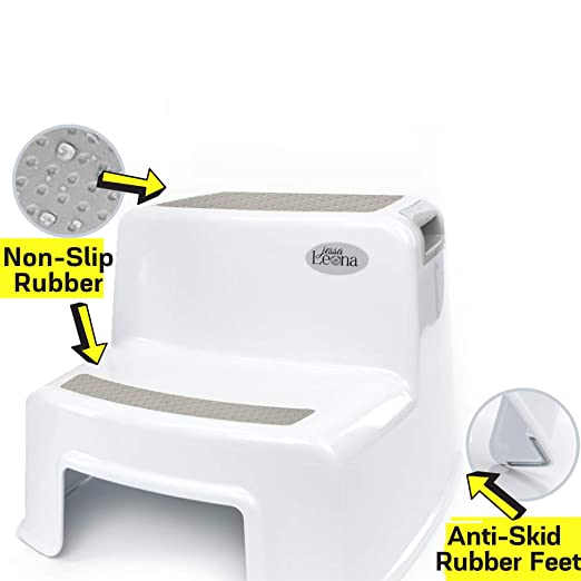 Dual Height Step Stool for Kids | Toddler's Stool for Potty Training and Use in The Bathroom or Kitchen | Wide Two-Step Design for Growing Children | BPA Free Soft-Grip Steps for Comfort and Safety