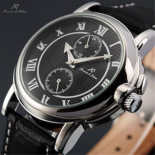 KS 2 Sub diales 24 horas de piel pequeño de segunda mano hombres automático reloj mecánico: Amazon.es: Relojes