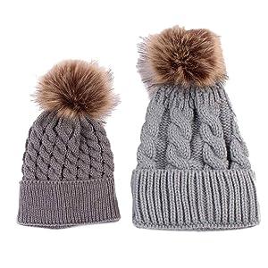 HANYI Winter Mom + Baby Knitting Keep Warm Hats (Gray)