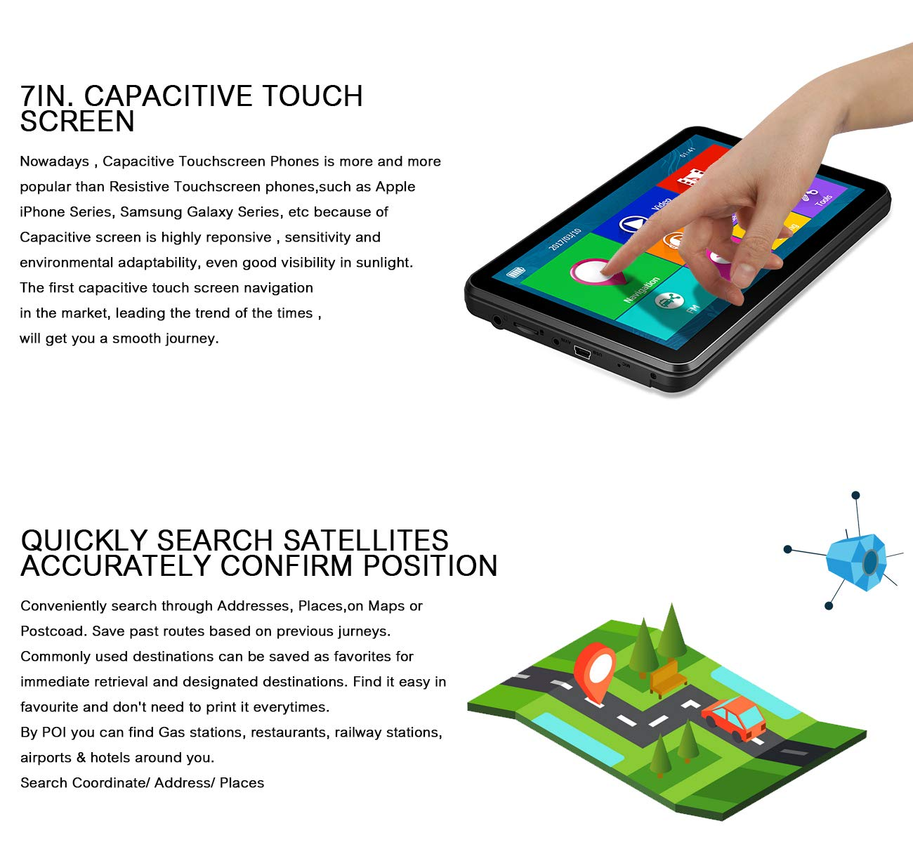 XGODY 884 SAT NAV 16GB 128MB GPS Navigation System Satellite Navigator 7 inch Capacitive Touch Screen Pre-loaded UK and EU Latest 2018 Maps Lifetime Free Update 884F+Sunshade