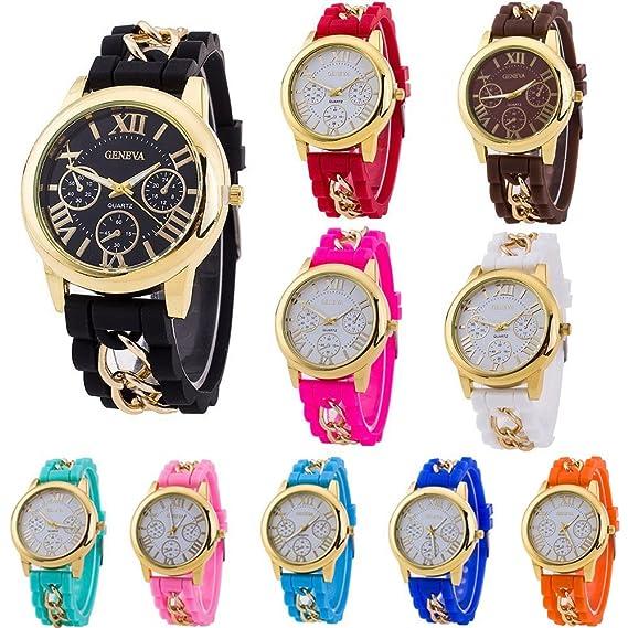 cdybox Mujeres Hombres niños Banda de Silicona al por Mayor 10 Pulsera de Cuarzo Relojes Jelly Gel: Amazon.es: Relojes