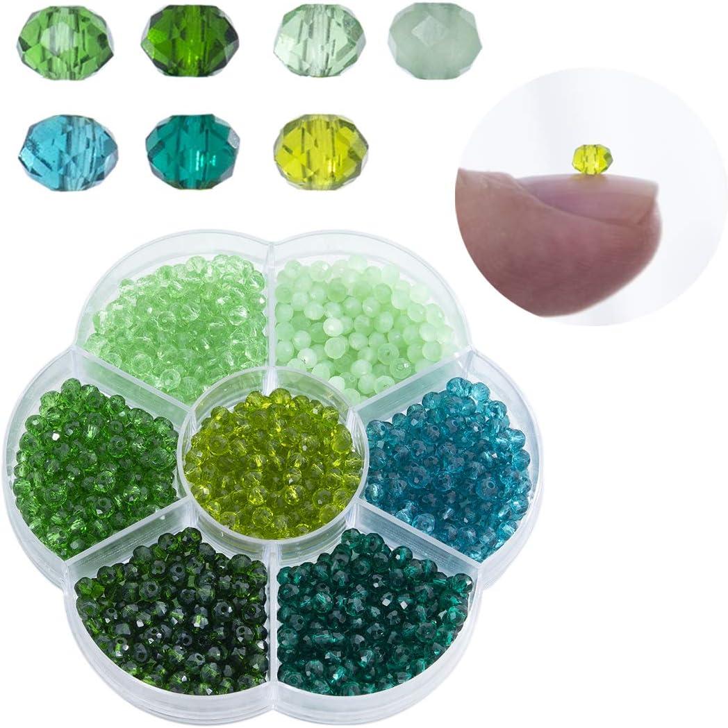 Lote de 1050 cuentas de cristal bicono al por mayor de 4 mm con forma de bicono de cristal facetado para proyectos de bricolaje, pulseras, collares con caja de almacenamiento, Style*1