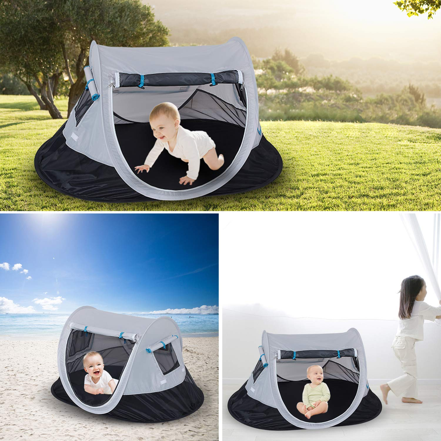 SHDIBA Portable Travel Pop up Baby Tent, Large Beach Sun Shelter Infant Tent, UPF 50+, Baby Sleep Outdoor Camping Mosquito Tent by SHDIBA (Image #7)