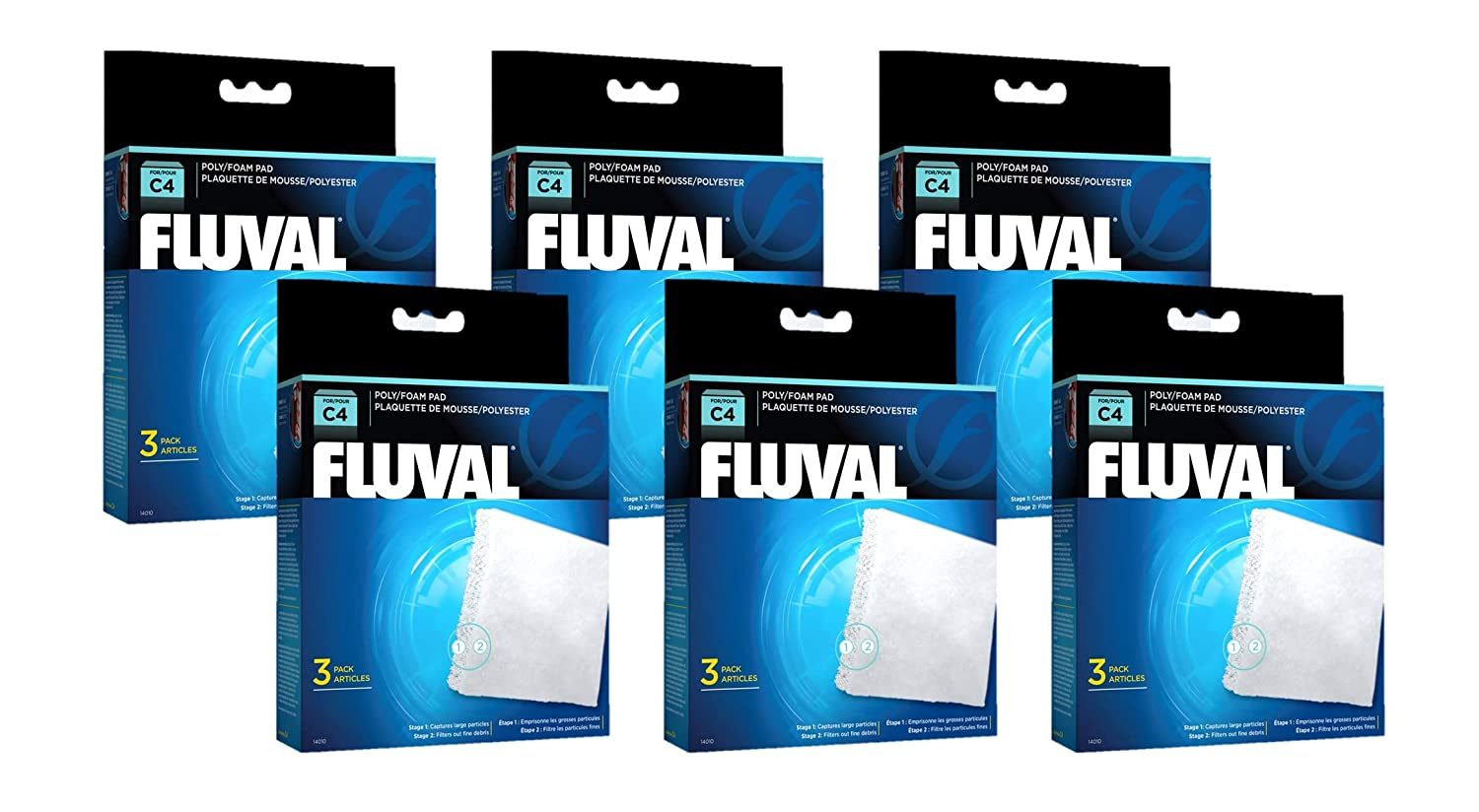 Fluval Poly Foam Pad 18 Pack (6 Units of 3)