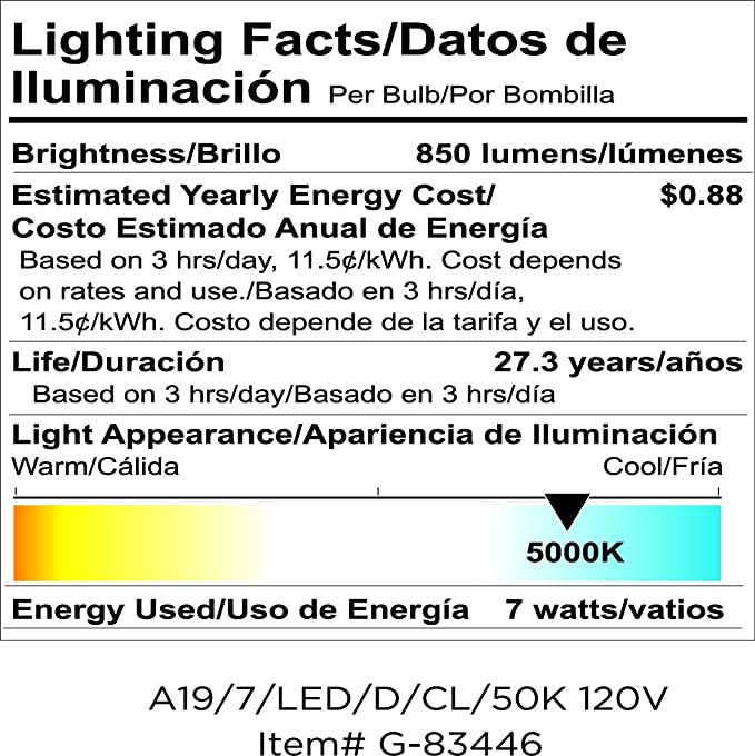 Goodlite G-83445 7w A19 LED Light Bulb, 60-Watt Equivalent 850 lumens E26 Base 3000k Warm White Dimmable Clear