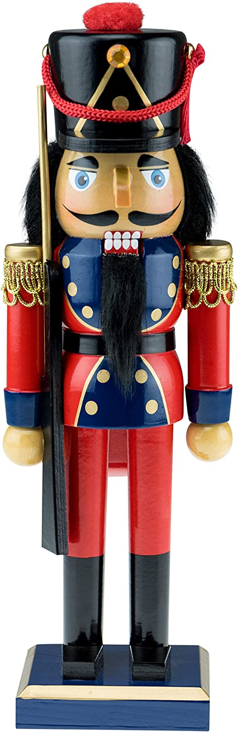"""Clever Creations Traditional Wooden Soldier with Rifle Nutcracker 