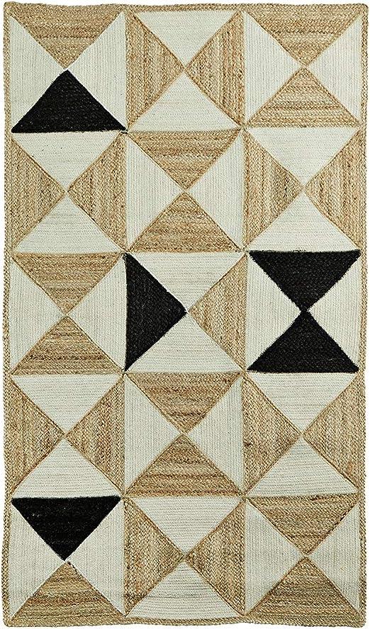 Madam Stoltz Alfombra Trenzada de algodón/Yute con patrón Geo en Color Natural y Negro, tamaño 90 x 150 cm: Amazon.es: Juguetes y juegos