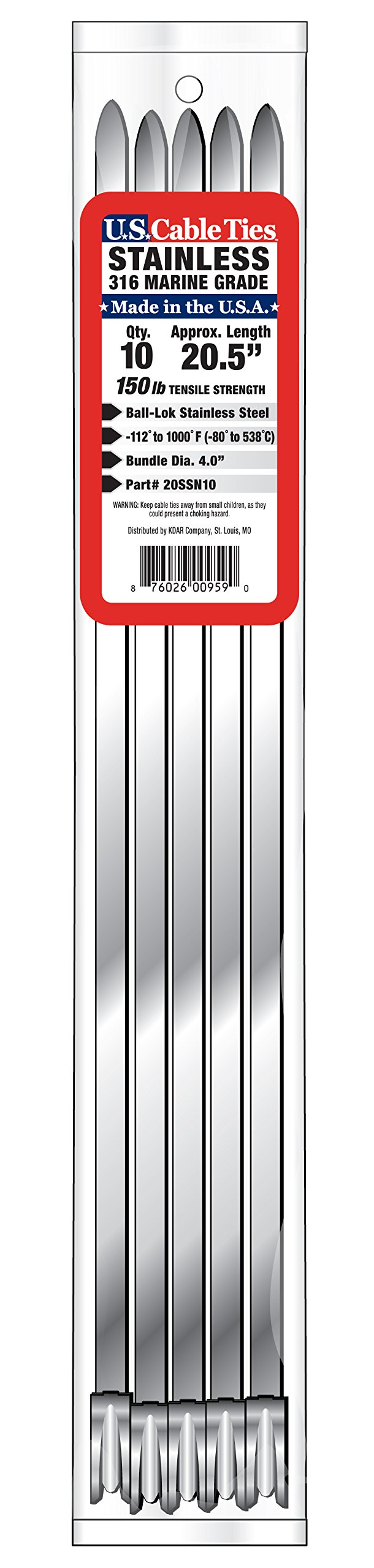 US Cable Ties 20SSN10 20-Inch 150-Pound 316 Narrow Stainless Steel Ties, 10-Pack