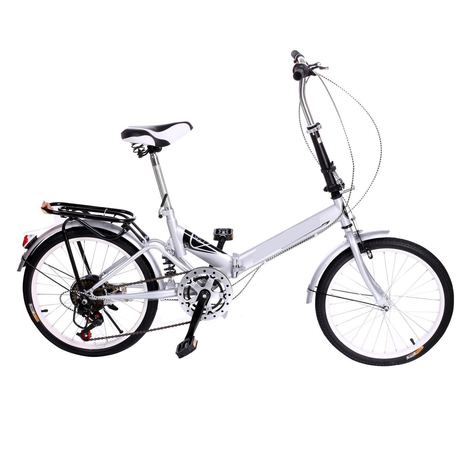 Utheing 20inch Wheel Folding Bike 6 Speed Mountain Bicycle Cycling Steel Frame Double Disk, Silver by Utheing (Image #3)