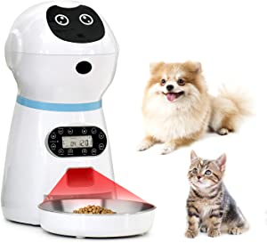 VinDox Automatic Cat Feeder, Pet Automatic Food Dispenser with Stainless Steel Food Bowl, Designed for Cat and Dogs, Portion Control & Voice Recording, Timer Programmable Up to 4 Meals a Day