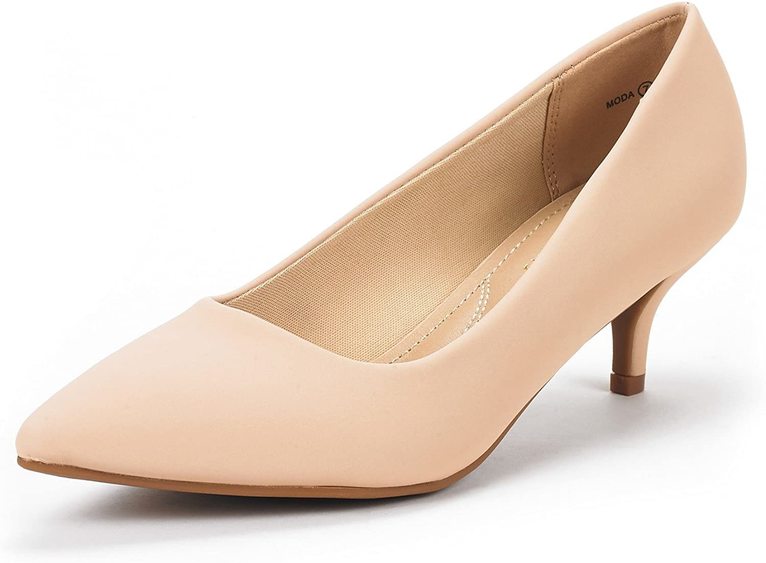 DREAM PAIRS Women's Moda Low Heel D'Orsay Pointed Toe Pump Shoes