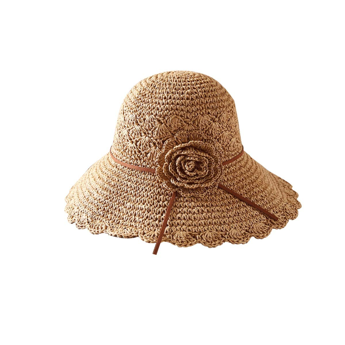 Brown Muziwenju Summer Beach Cap Women's Folding Floppy Travel Can Store UV Predection Hat Cotton Wide Hat