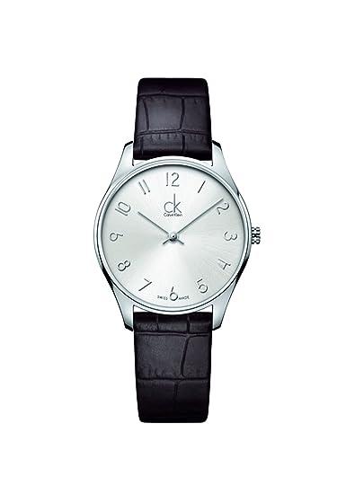 Calvin Klein K4D221G6, Reloj Quarz para Mujer, con Correa de Cuero, Negro: Amazon.es: Relojes