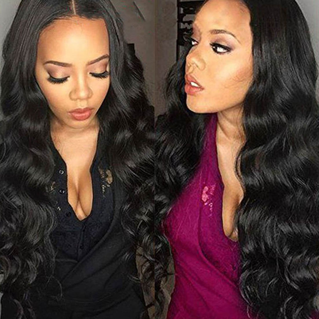 Doren Loose Wave U Part Human Hair Wigs for Black Women 1x4 Opening Size Middle Part Long Wavy Virgin Brazilian Hair Natural Color 20 Inches