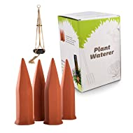 Terracotta Plant Watering Spikes 4 Pack Set, Self-Irrigation Watering Stakes for Flowers, Plants, Trees, Bushes, Shrubs and More - Plant Waterer - Garden Watering Spike, Includes Bonus Plant Hanger