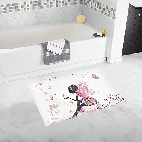 INTERESTPRINT Pink Flowers Fairy with Butterflies Decor Non-Slip Bath Rug Absorbent Shower Mat Bath Mats for Bathroom Tub Large Size 20 x 32 Inches