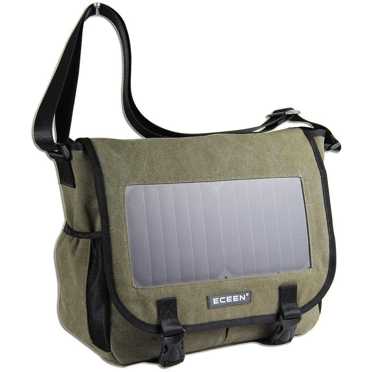 ECEEN Solar Message Bag Single Shoulder Pack with 7 Watts Solar Panel & 5V Voltage Regulator Charging for Smart Phones Digital Cameras Speakers Devices