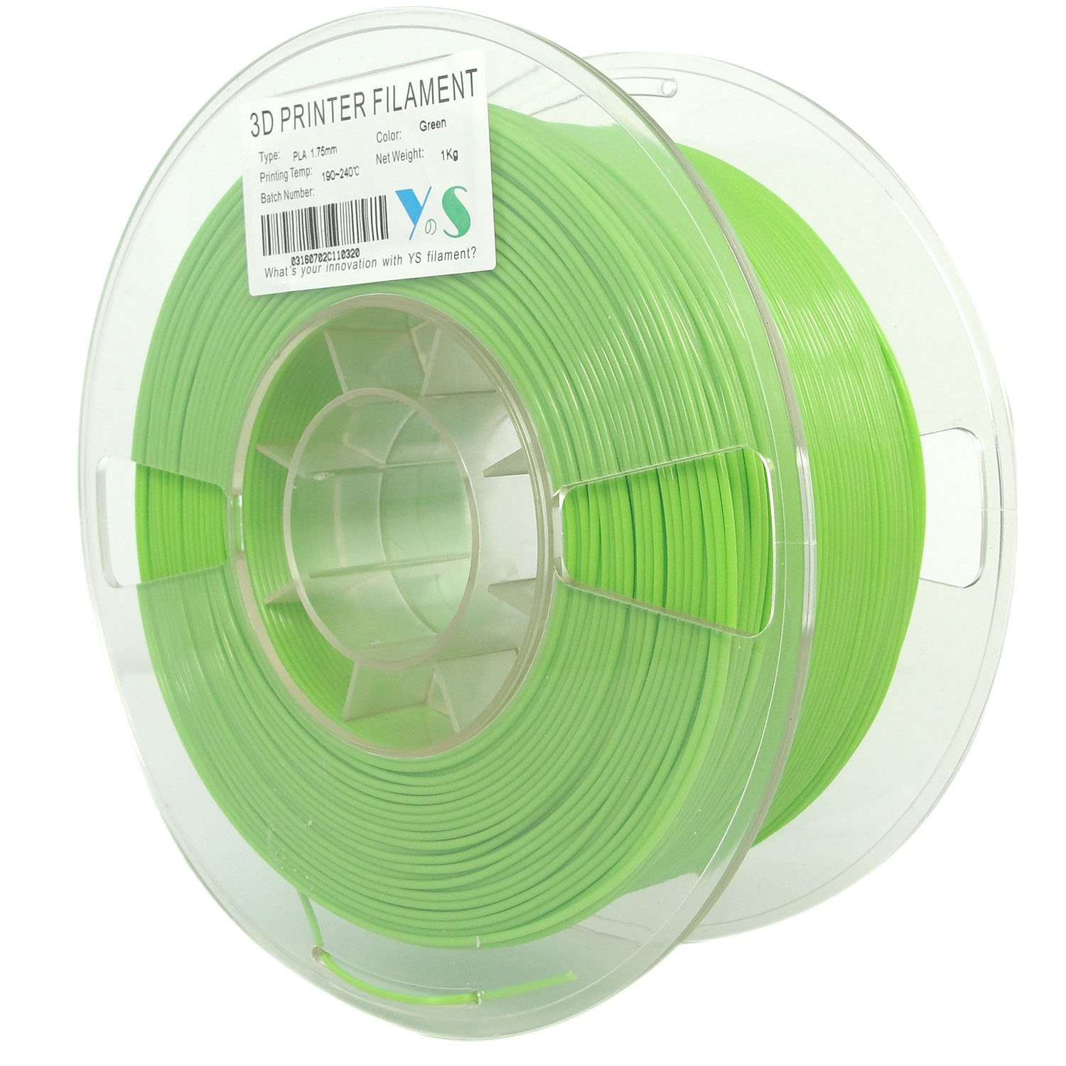1kg Spool Dimensional Accuracy +//- 0.03 mm Guangzhou Yousu Plastic Technology Co Limited YS-PLA161 Yousu Tangle free 1.75mm PLA 3D printer filament Green color