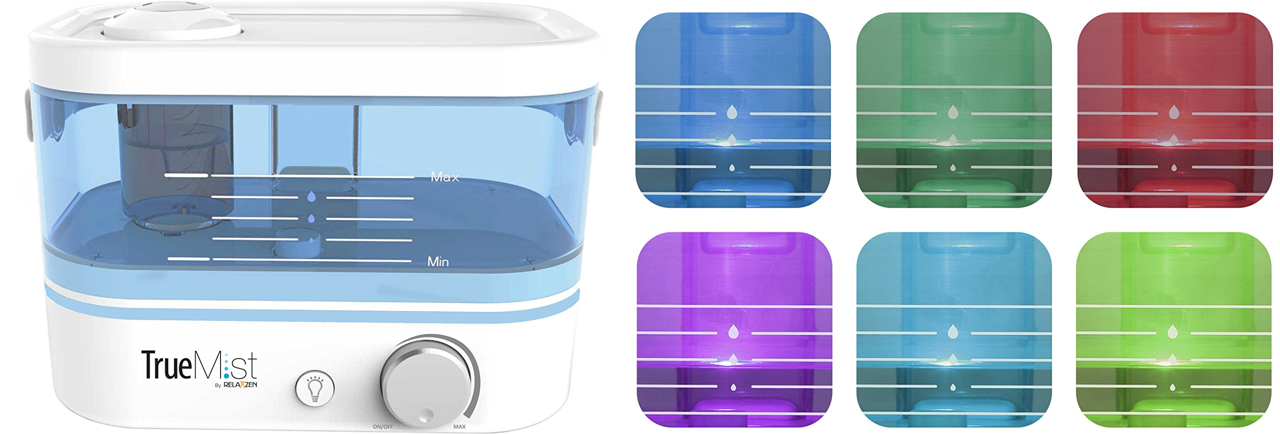 TrueMist Top Fill Cool Mist Humidifier – Easy Clean, Easy Fill, No Mess, White/Blue by TrueMist (Image #4)